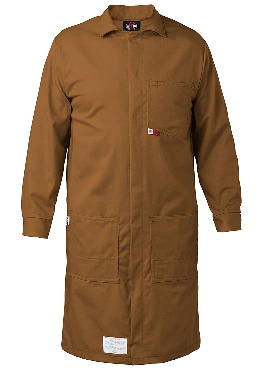 BROWN - SMALL - FR LAB COAT - 6oz. NOMEX III3 Flame Resistant Fabric - Lab or Classroom Ready - HRC 1 - APTV= 5.7 cal/m2 - MADE IN THE U.S.A.