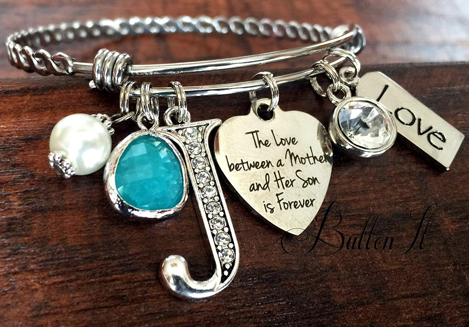 Gifts for Mom, Gifts for Grandma, Mother's day gift, Mother daughter jewelry, BANGLE bracelet, initial jewelry, charm bracelet, mother son jewelry, birthstone charm, baby shower gift
