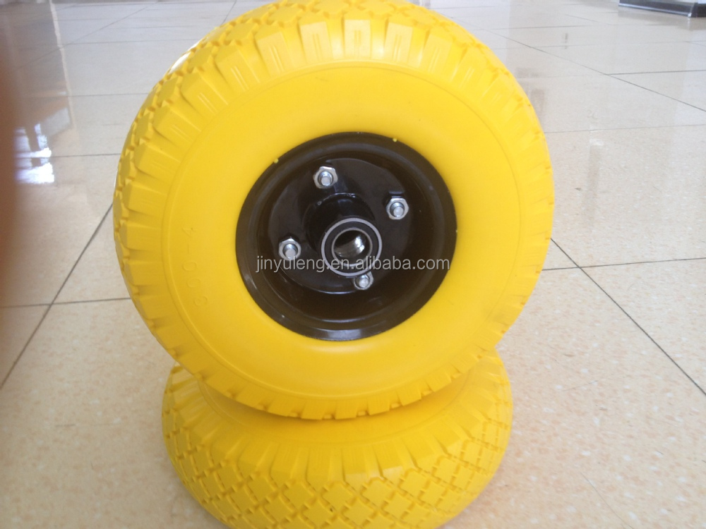 100mm diameter 8 inch pu foma wheel 200mm plastic rim U solid wheel for folding wagon wheel Herringbone pattern beach