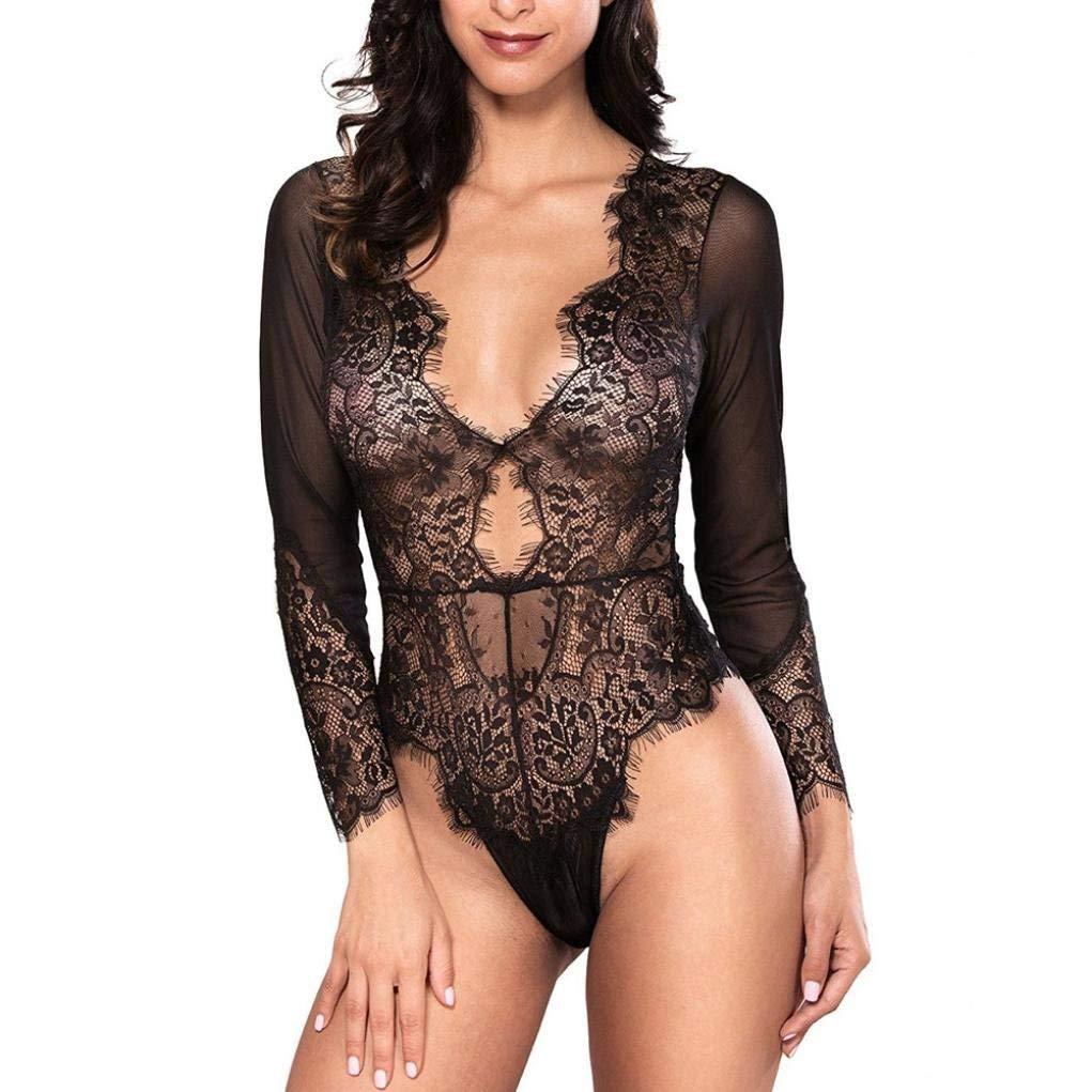 Get Quotations · LLguz Lace Long Sleeve Siamese Underwear Women Black Sexy  Lingerie Long Sleeve Bodysuit Sexy Lace Deep d5ecf3b3a