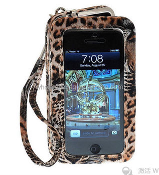 pretty nice 9afb0 1d028 Leopard Pu Leather Clutch Clip Wristlet Clear Window Cell Phone Wallet -  Buy Designer Cell Phone Wallet,Wristlet Phone Case Wallet Purse,Clutch Clip  ...