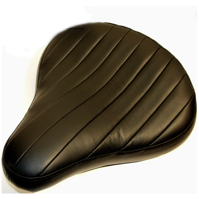 Black Leather Tuck Roll Solo Motorcycle Seat For Harley