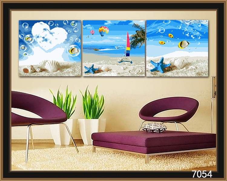 Free shipping 3 piece DIY oil painting canvas Shell Beach home decoration living room painting on canvas by number kits