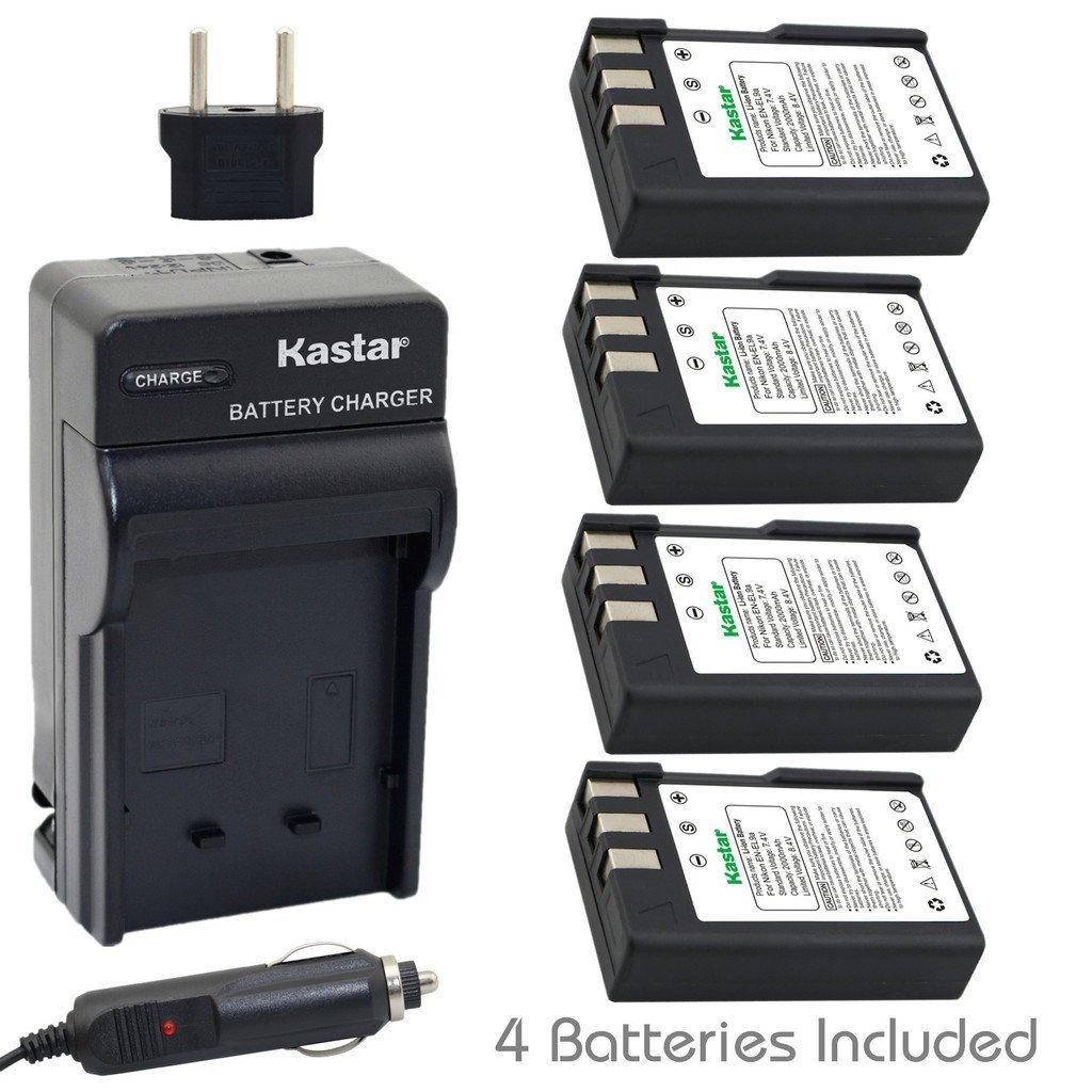 Kastar EN-EL9 Battery (4-Pack) and Charger Kit for Nikon EN-EL9a, MH-23 and Nikon D3000, D5000, D40, D60, D40X SLR Cameras