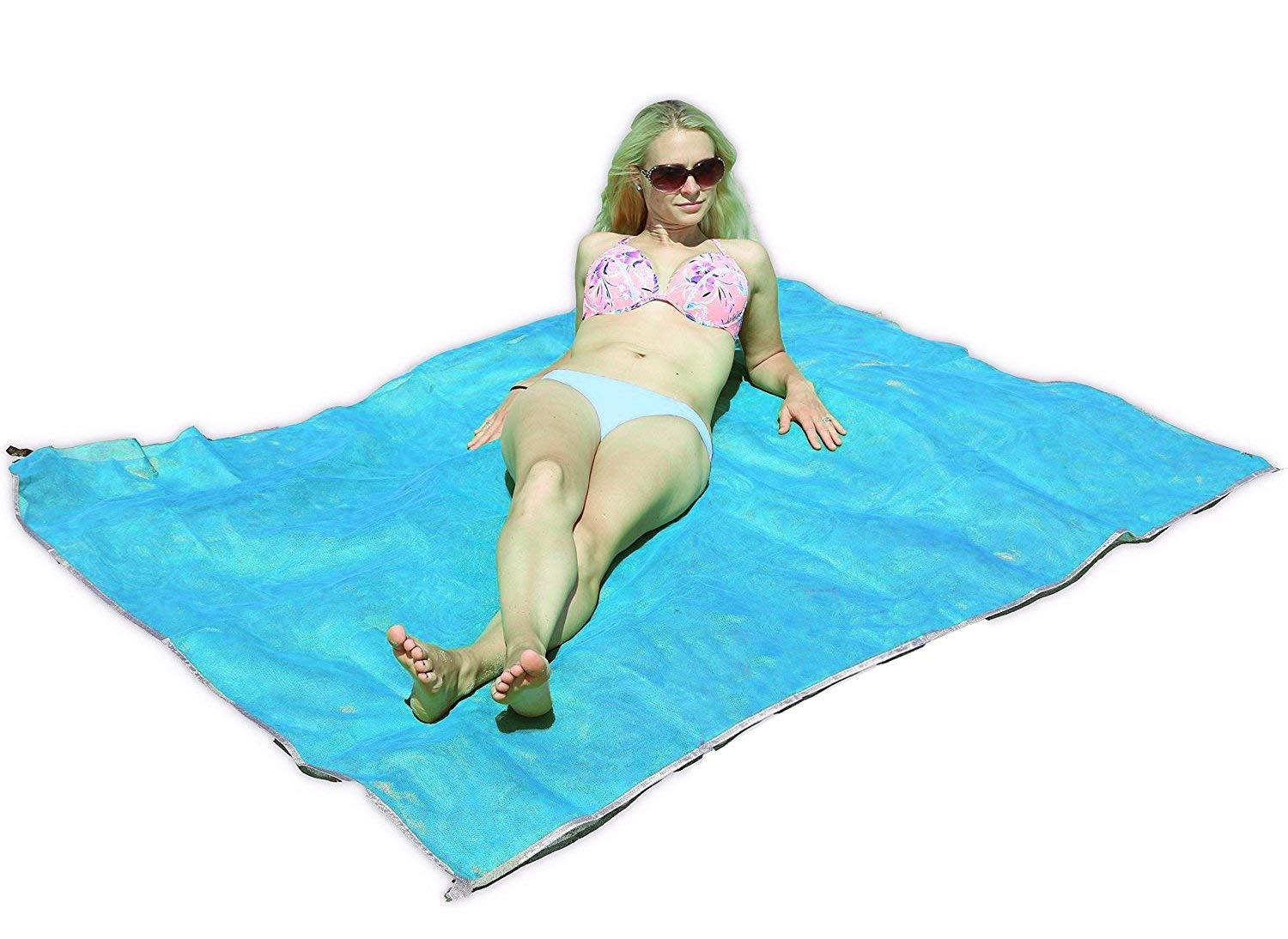 Kingtree Sand-Free Beach Mat, Sand Proof Fast Dry Beach Blanket with 4 Stake Anchors, 79''x59'' Super Portable Waterproof Outdoor Mats for Beach, Picnic, Camping