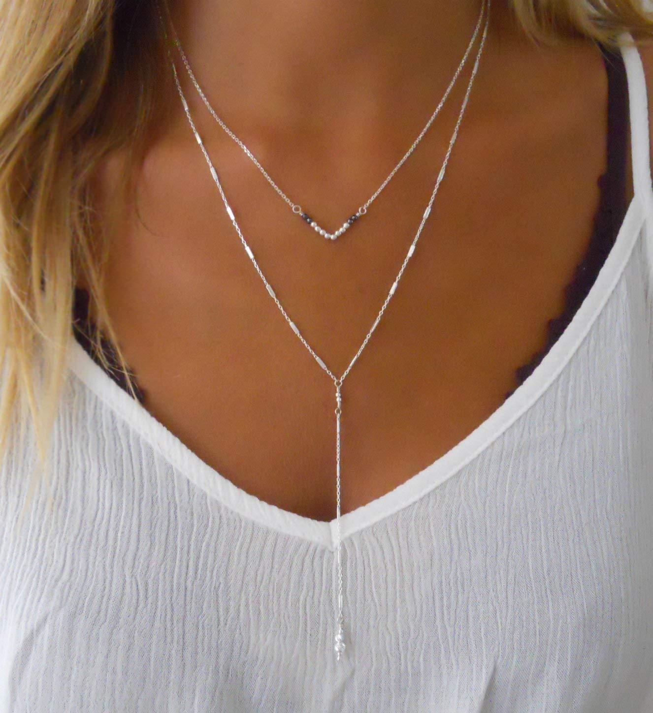 Handmade Designer Delicate Set Of 2 Silver Layered Necklaces - Silver V Necklace & Silver Lariat Y Shape Necklace