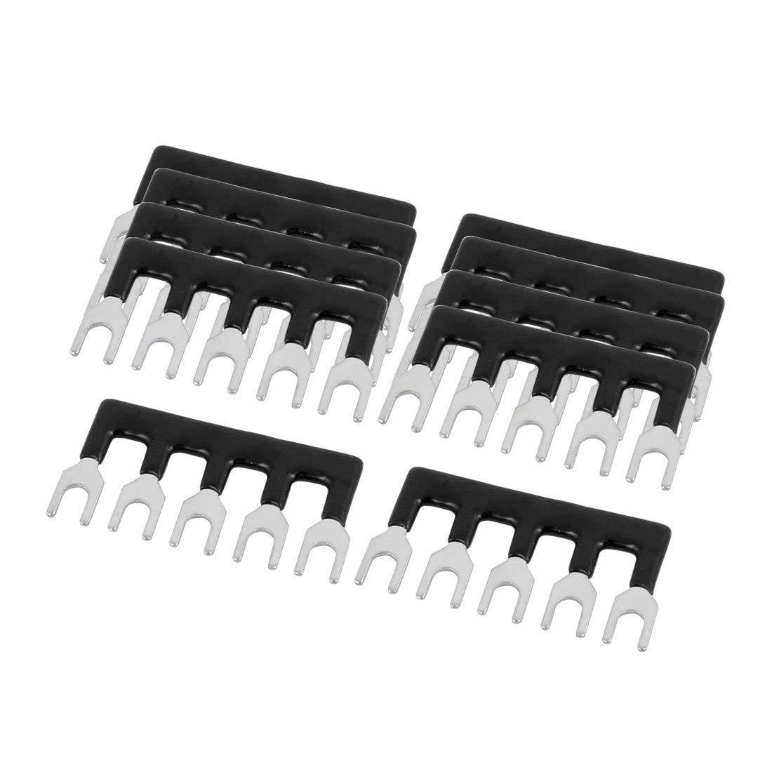 uxcell 10PCS 600V 15A 5mm Pitch 5 Position PCB Terminal Block Strip Barrier Black