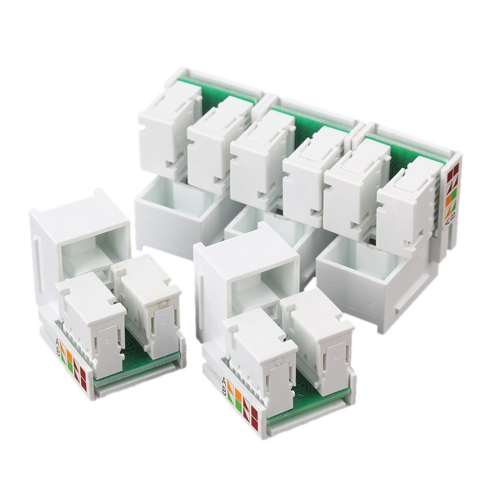 RJ45 Cat5e Network Jack Wall Plug 4 Port Patch Panel Faceplate Pack of 5