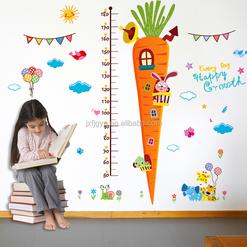 Cute carrot pattern height growth chart children wall sticker for study room