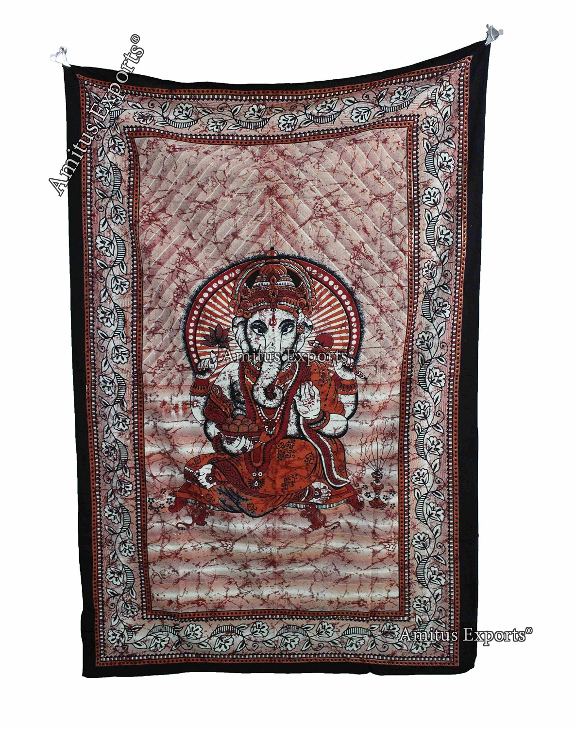 """Amitus Exports 1 X Batik Lord Ganesha 80""""x53"""" Approx. Inches Red Color Twin Size Cotton Fabric Multi-Purpose Handmade Tapestry Hippy Indian Mandala Throws Bohemian Tapestries"""
