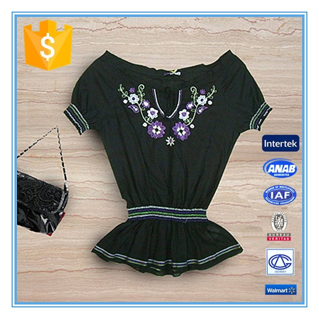 Fashion Lady Neck Design Floral Embroidery Elastic Waist Blouse