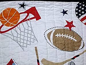 standard blues reversible TWIN SIZE quilt set - QUILT + sham (football, hockey, soccer, basketball, baseball) FACE 100% cotton FILL: 70% cotton / 30% polyester