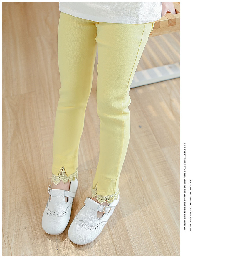 2019 spring children trousers lace decorative leggings stretch pants