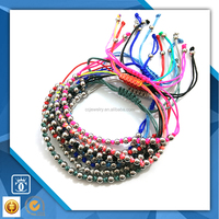 2016 fashion popular gold silver rose gold black plate handmade beaded bracelet 316l stainless steel jewelry bracelet OEM