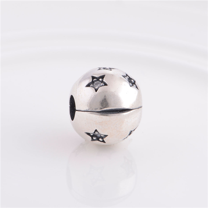 925 Sterling Silver Stars Lock Clip Stopper Charm Beads, DIY Jewelry Accessories Fits European Brand Charm Bracelet Making KT066