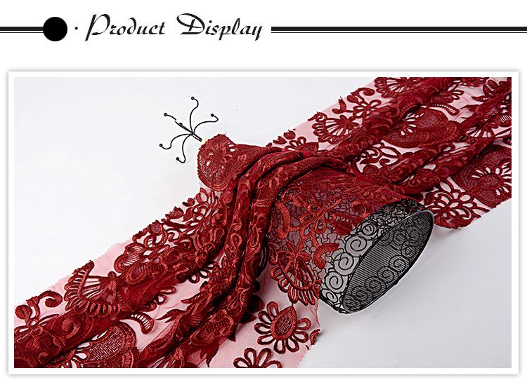 Good quality popular mesh red 3d flower lace embroidered fabric