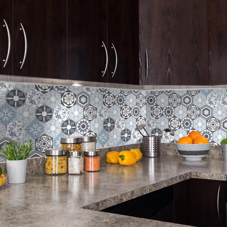 PGTS016 hexagonal de cerámica azulejo adhesivo pegatina para cocina ...