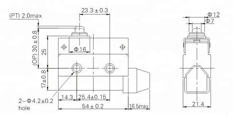 LZ-7100, mini linear actuator short push plunger type 10a 250vac automatic micro limit switch