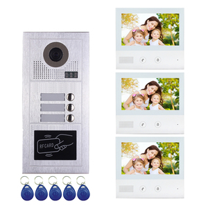 2 wire multi apartments intercom system doorbell 7 inch color video door phone for 3 family