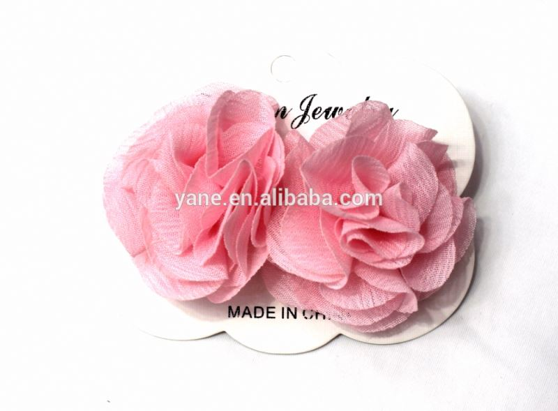 cute pink polyester flower hair clips for baby girls,wholesale hair accessories