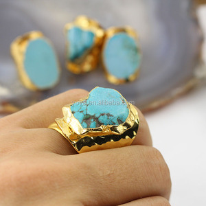RG1092 Clearance sale !!!!Fashion turquoise band ring,gold plated freeform turquoise slice cuff ring