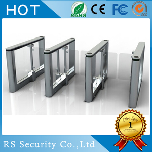 Toughened glass turnstile gate with card reader,flap barrier speed gate