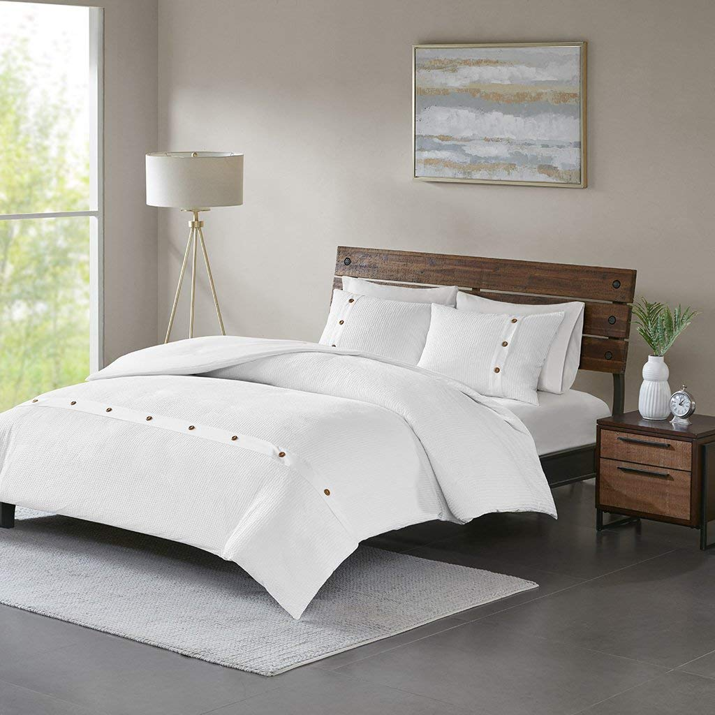 c134a00a28 Get Quotations · Madison Park Finley 3 Piece Cotton Waffle Weave Duvet  Cover Set White Full/Queen