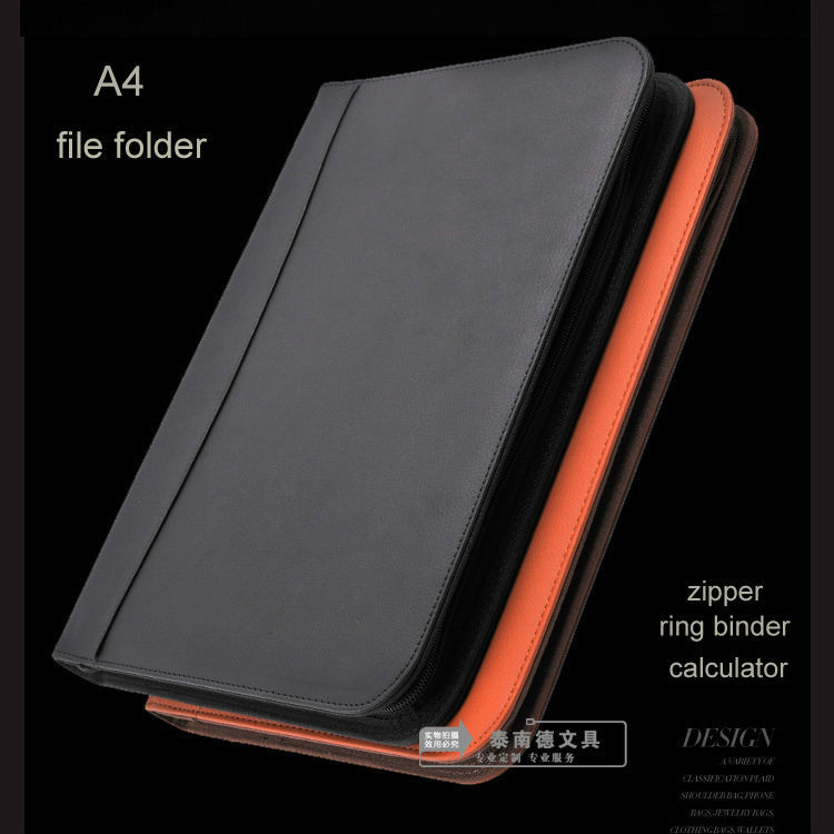 Brand A4 Leather Zipper File Manager Bag A4 Document