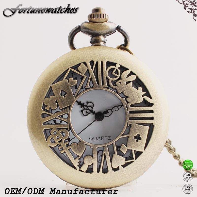 Antique Bronze Quartz Pocket Watch with Watch Chain Industry in China