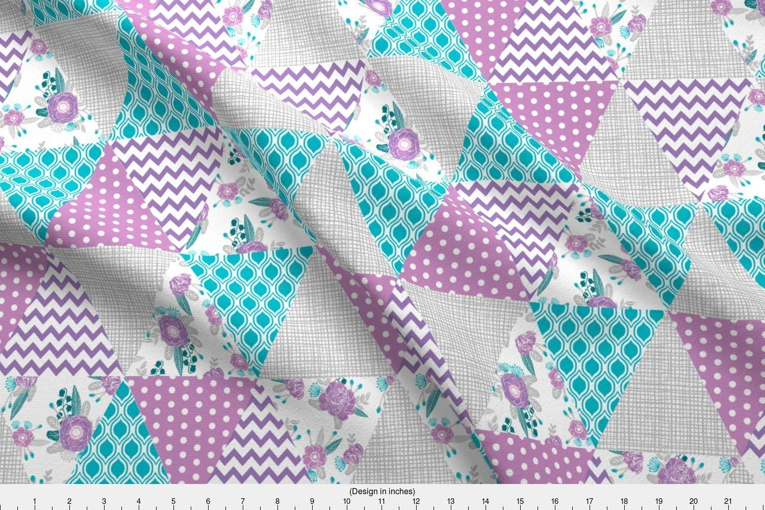 Get Quotations Spoonflower Pea Fabric Triangle Cheater Quilt Baby Nursery Purple And Turquoise Design By Charlottewinter