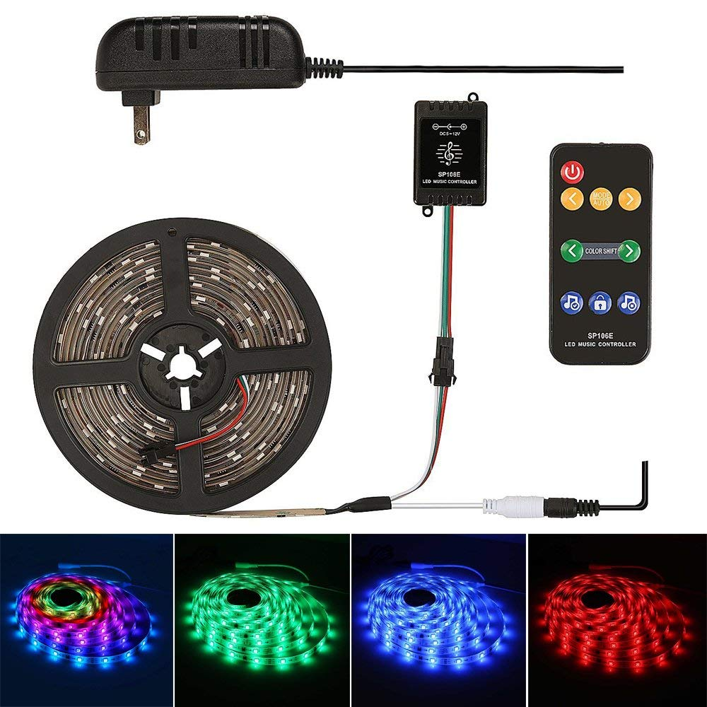 Dream Color LED Strip Light, Built-in WS2811 IC, SMD 5050 RGB Sync to Music Flexible Color Changing Strip Light, 9-Key Remote Control (16.4ft)