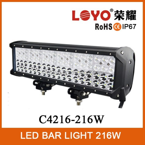 Hight Power !!! 4 Row LED Bar Light 216W Offroad Lightbar 17'' 6000k Color LED Light Bars with Combo Beam