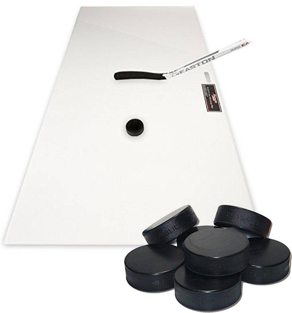 Bundle Includes 2 Items - Sniper's Edge Hockey Ice Hockey Shooting Pad, 24 x 48-Inch and A&R Sports Ice Hockey Puck (Pack of 12)