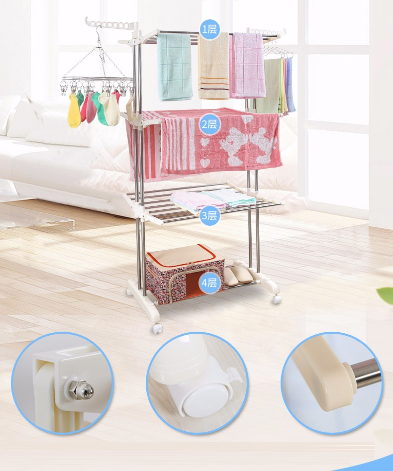 Sgs Bsci Quality Assurance Three Layer Rotary Drying Rack Removable