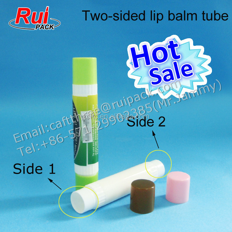 2015 fancy 2 sided lip balm container bottle, 2 heads PP lip balm tube