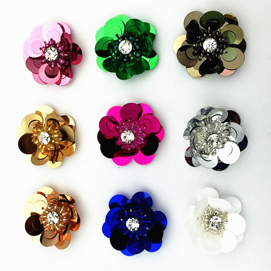 Flowers, Handmade Patches glass/resin, crystal rhinestones clothing applique beaded sequins flowers hand sew or glue F965