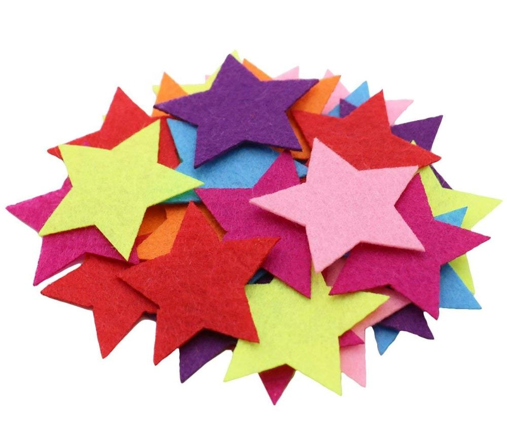 5 Styles 150 PCS Assorted Color Felt Flowers for Art and Craft DIY Sewing Handcraft (Heart, Flower, Smile Face, Star, Crown)