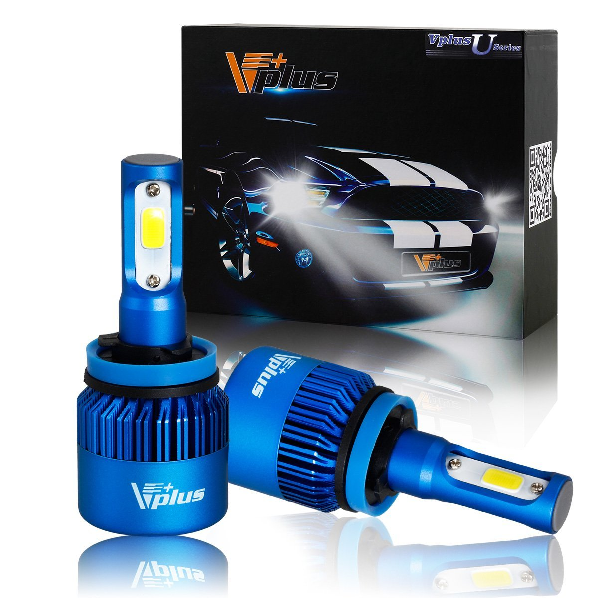 Vplus U Series LED Headlight Bulbs w/ Clear Focused Beam Kit - H8 H11 H9 80W 8,000LM 6500K White COB w/ Fan LED Headlamp Conversion Replace HID & Halogen -(2pcs/set)