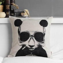 Custom logo print cushion,classic black and white gentleman panda vintage cushion,promotion and advertisement cushion