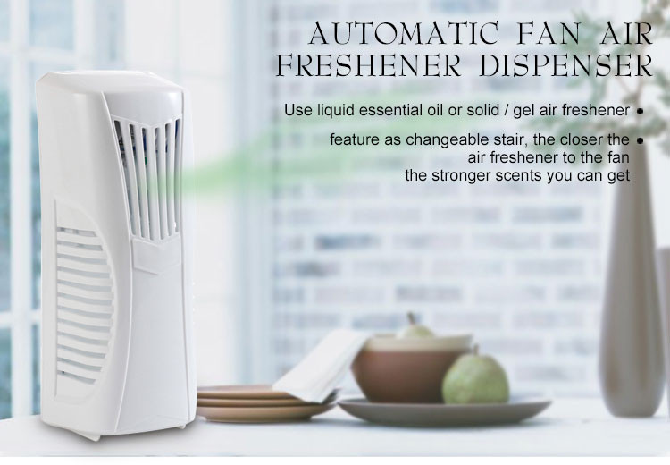 fan drive display battery operated auto perfume spray dispenser / hang on wall cordless fan drive air freshener machine