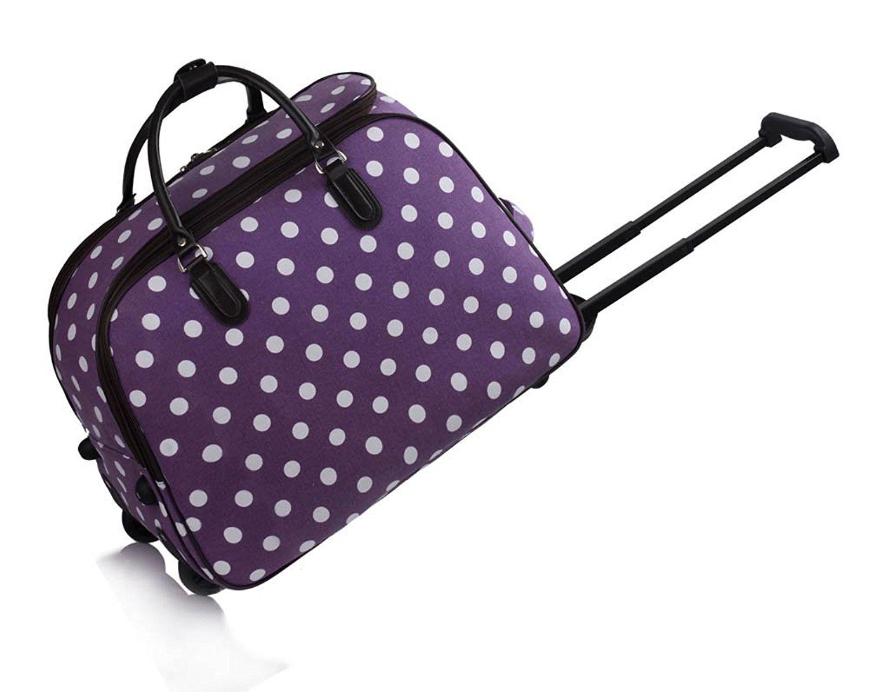 Get Quotations · Ladies Travel Bags Holdall Hand Luggage Womens Polka Dot  Weekend Wheeled Trolley 98cc438fbc7b2