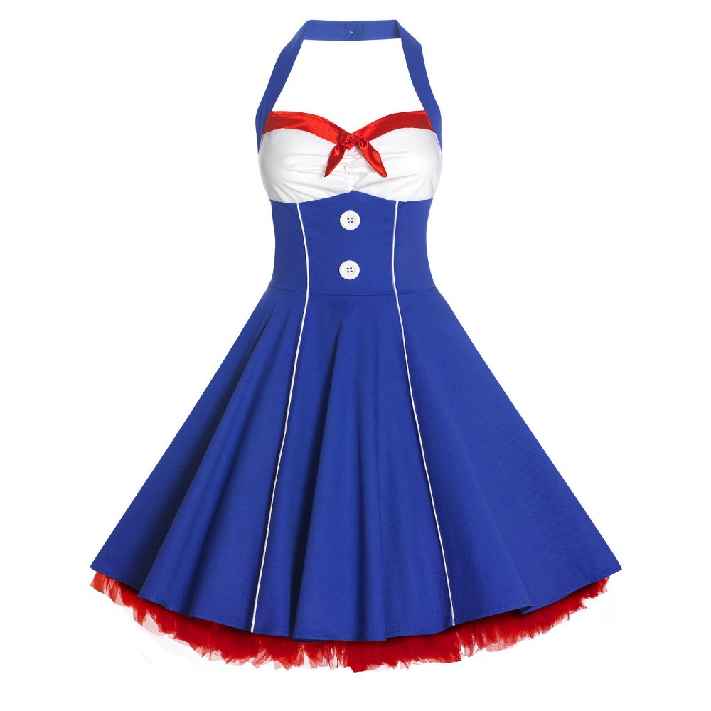 a9f6107bcaf Get Quotations · Free Shipping 50s Lady Nautical Sailor Vintage Style Swing  Full Circle Rockabilly Pinup Dress