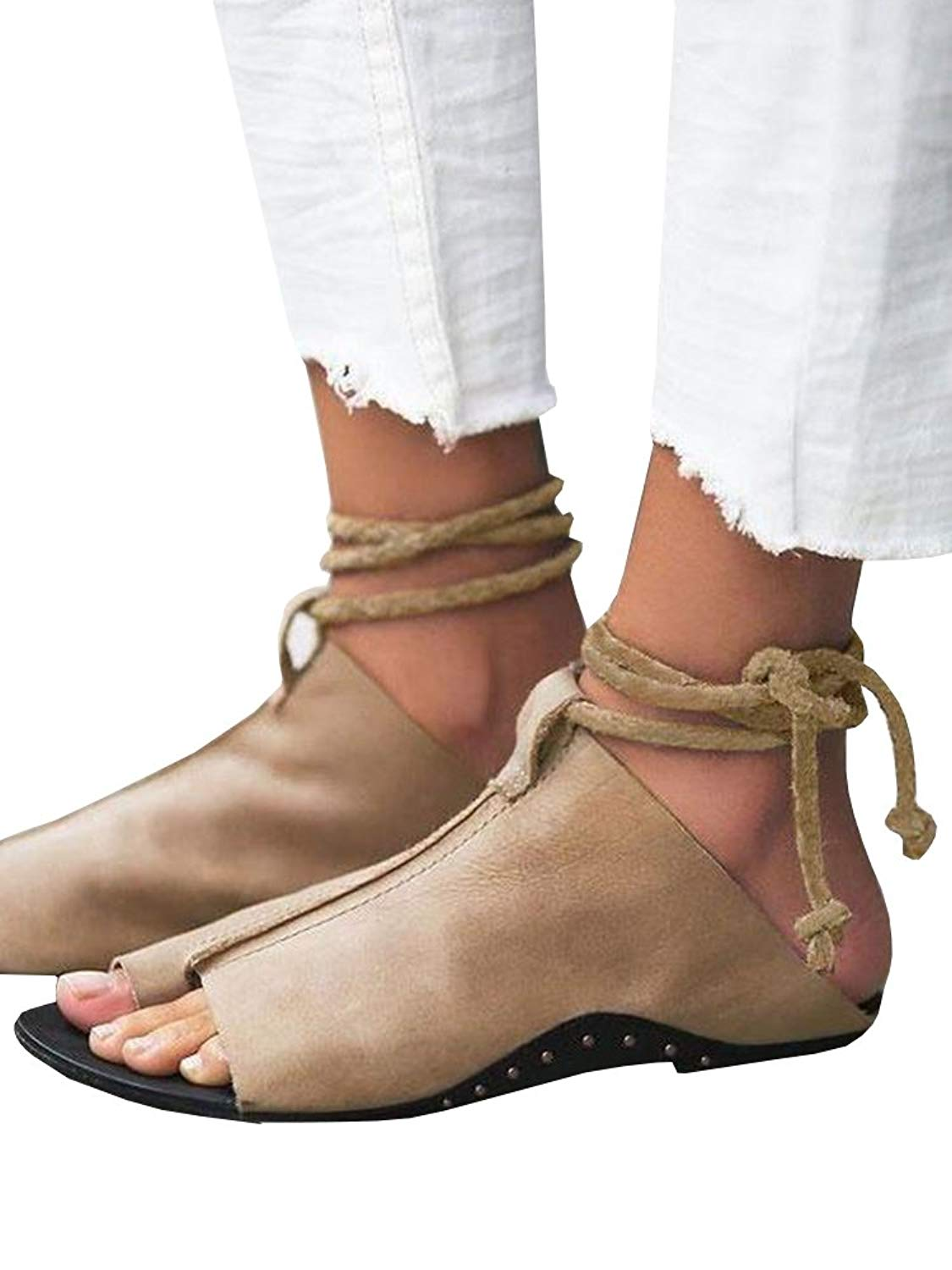 23b6c1a9edf Get Quotations · Womens Roman Thong Lace up Flat Flip Flop Cut Out  Gladiator Ankle Sandals Mules