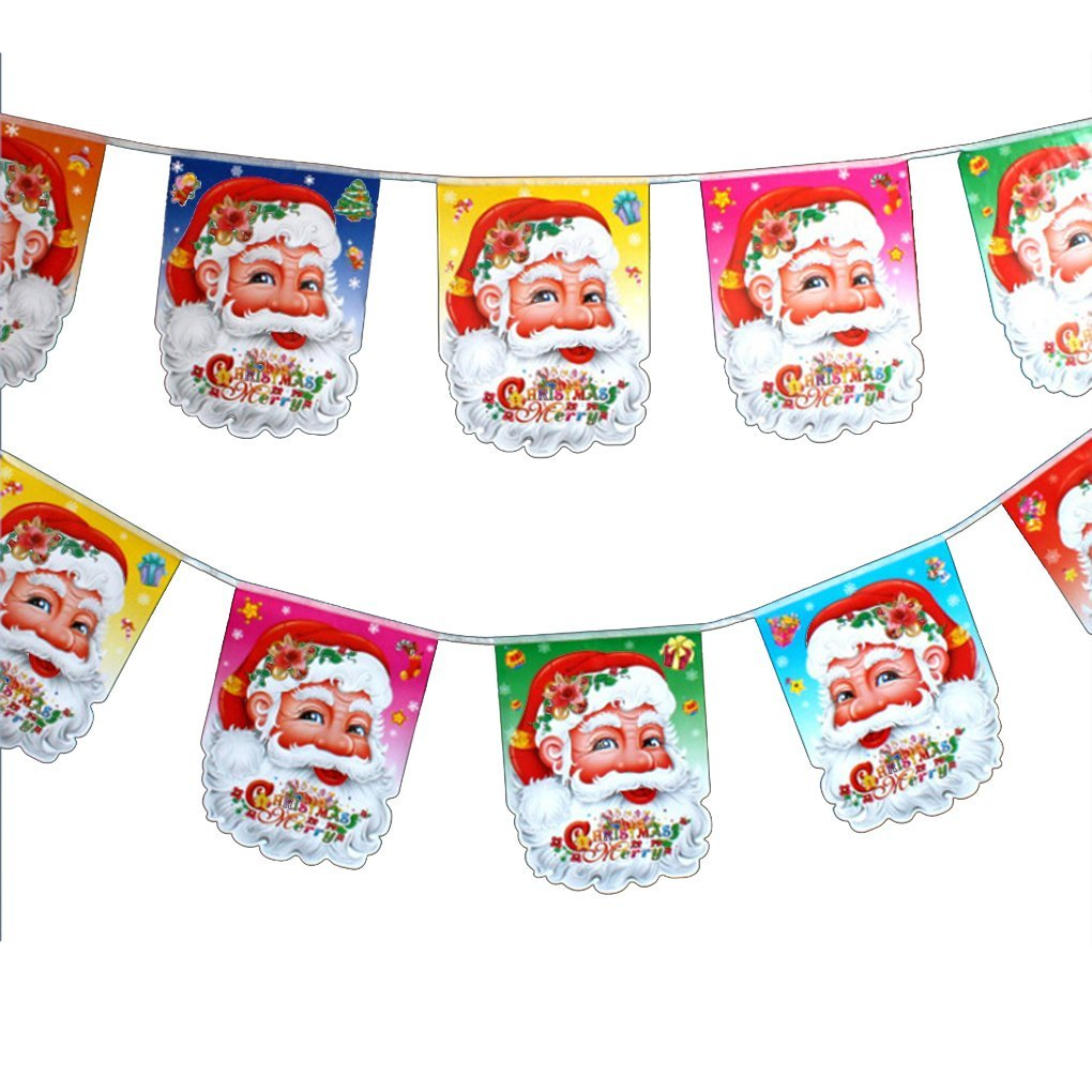 m egal christmas decoration santa claus hanging flags a set of 6 flags with patterns