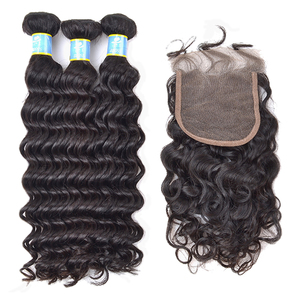 Cheap brazilian human hair bundles with closure,7x7 6x6 5x5 4x4 top lace closures human hair,deep wave virgin human hair closure