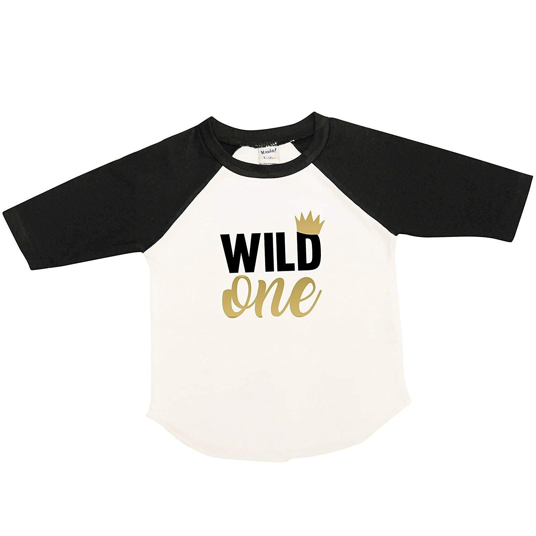 Get Quotations Belle Lane Designs Wild One First Birthday Shirt Boy Raglan Black And