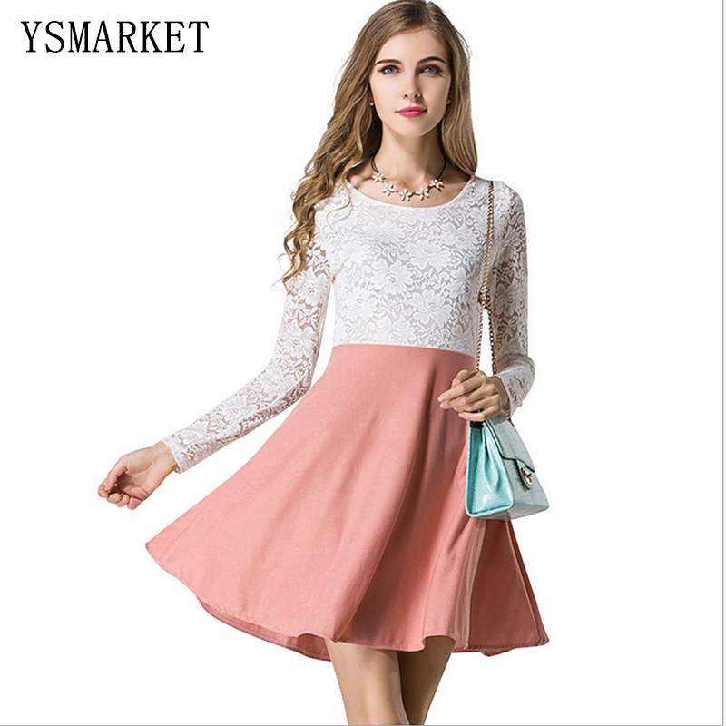 9d849c6eb Korea White Lace Pink Patchwork Office Dress Women 2017 Long Sleeve Summer  Elegant Cute Party Fashion Pinup Club Mini Dress 0914