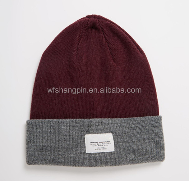 Top Quality Plain Burgundy Beanies Custom Knitted Toque with Tags
