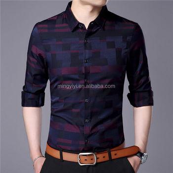 a3c294c792 Hombres camisa para hombre negocios Casual camisas 2018 nueva llegada ropa  Plaid manga larga