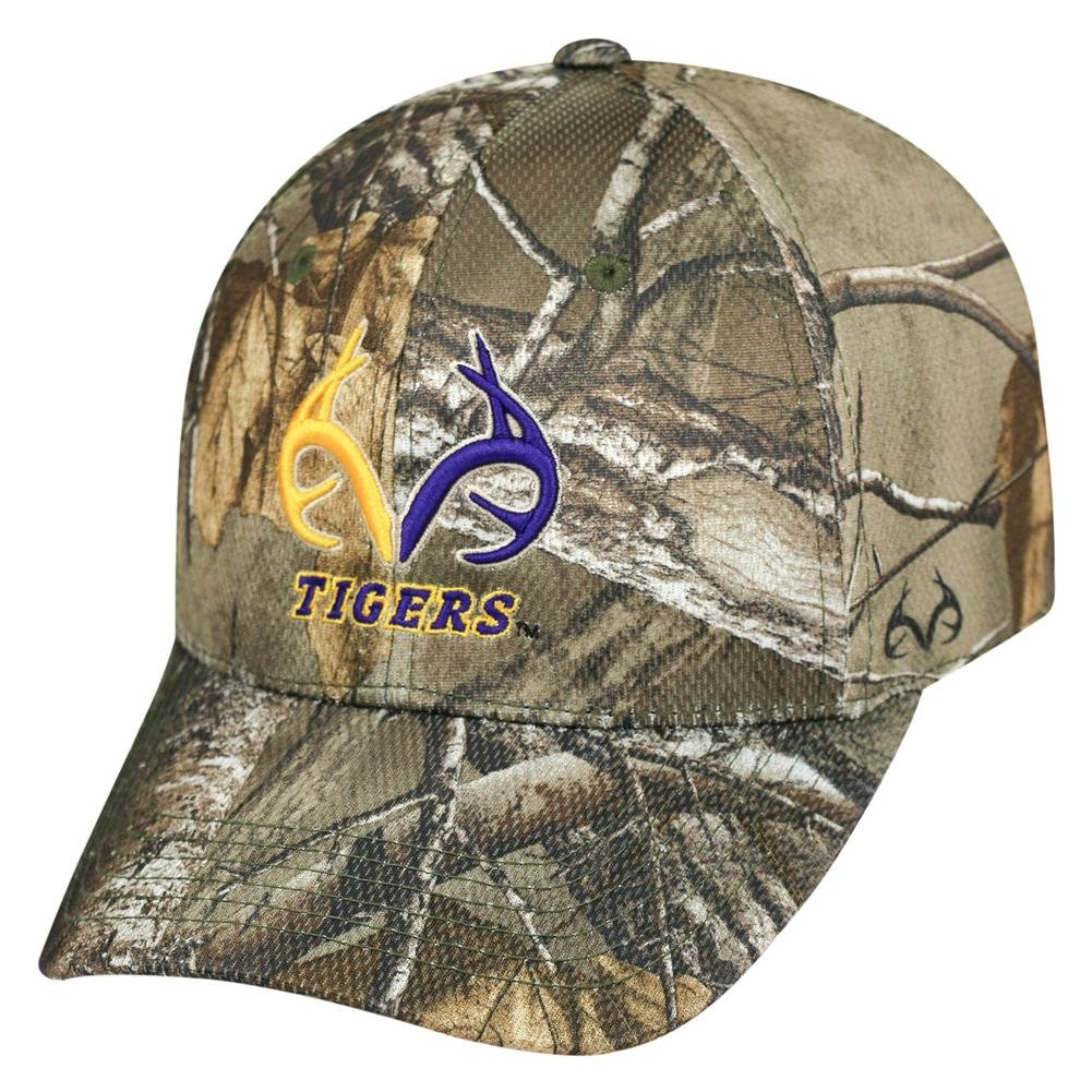 572956a6d84 Get Quotations · Realtree Logo LSU Tigers Louisiana State Camo Hat Stretch  One Fit